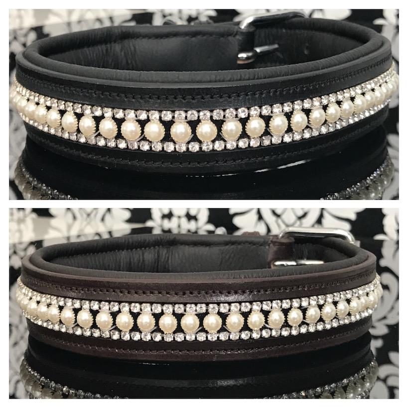 FATANO® Hundehalsband Leder 21-52 cm Hunde Halsband Strass Lederhalsband C15