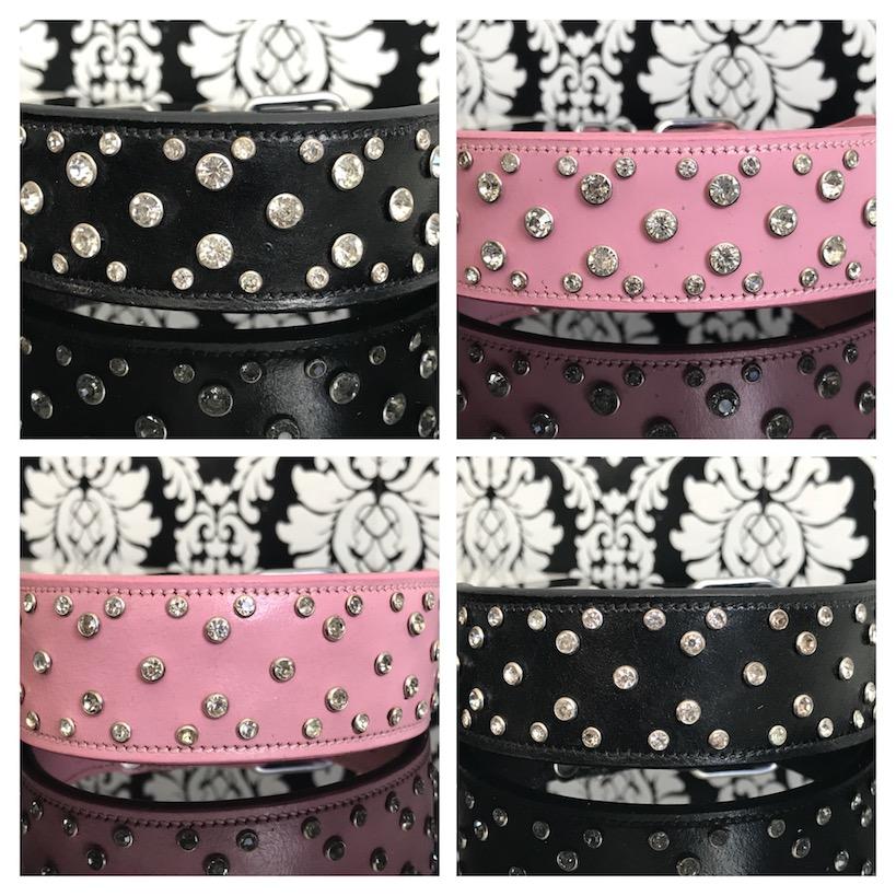 FATANO® Hundehalsband Leder 21-52 cm Strass 4 cm Windhundhal Lederhalsband C14