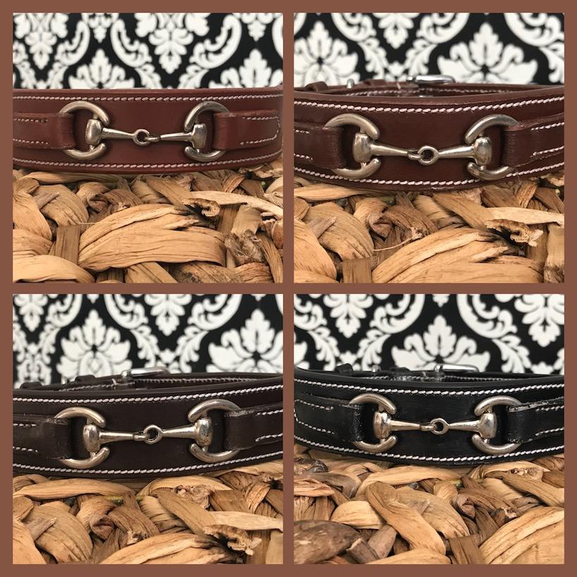 FATANO® Gebiss Trense TOP Leder 33-57 cm Hunde Halsband Strass Lederhalsband C12