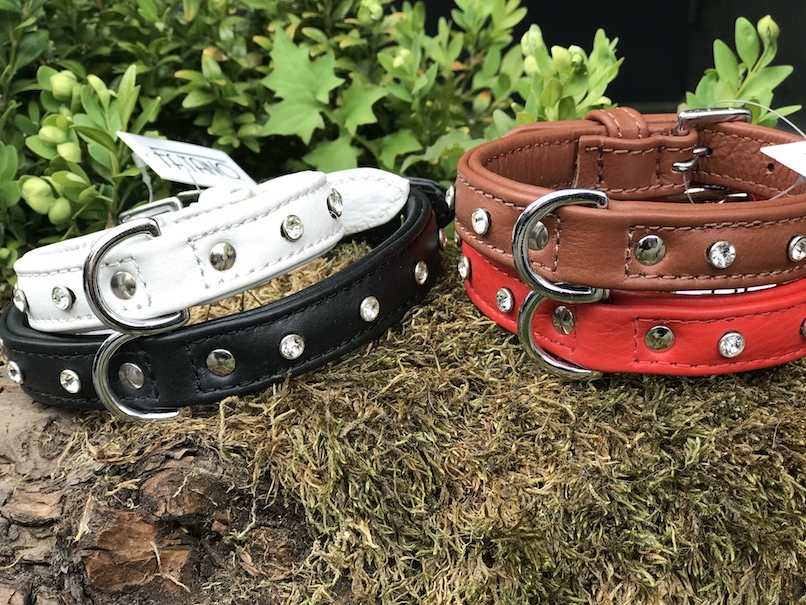 FATANO Hundehalsband Leder 22-66 cm SOFT Halsband Strass Lederhalsband H4008