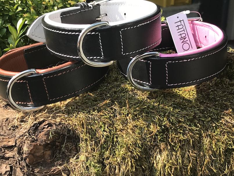 FATANO Hundehalsband Leder 20-52 cm 2farbig Halsband Strass Lederhalsband H4010