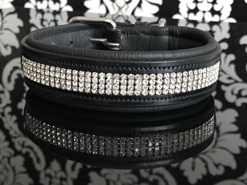 FATANO® Hundehalsband Leder 21-52 cm Hunde Halsband Strass Lederhalsband C6