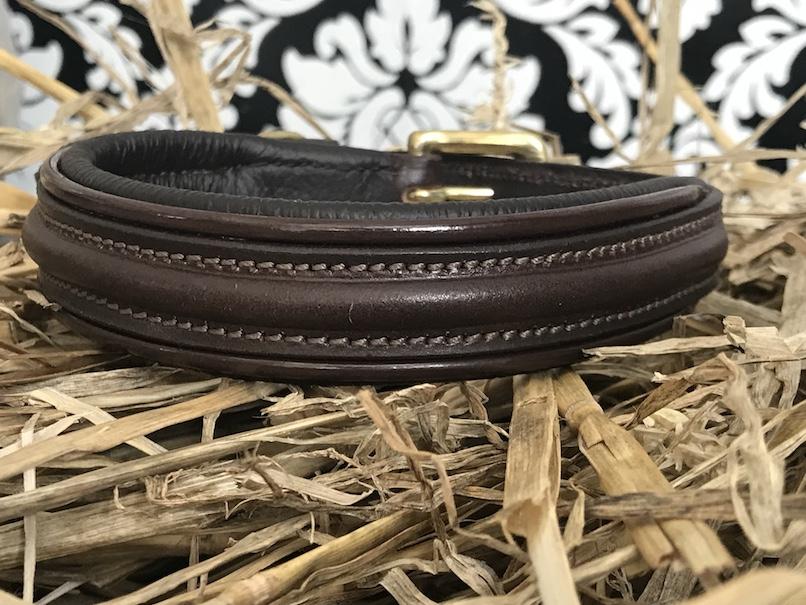 FATANO® Hundehalsband Leder 22-53 cm gepolstert Halsband braun Lederhalsband C19