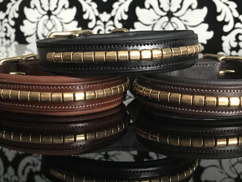 FATANO® Hundehalsband Leder 22-52cm gepolstert Halsband Nieten Lederhalsband C24