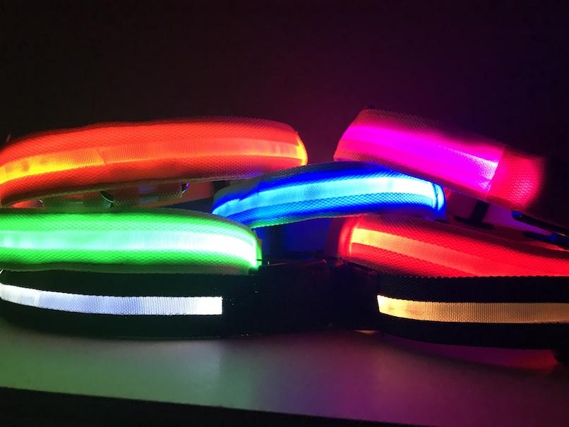 Hunde Hundehalsband  7 Farben 4 Größem LED Halsband Leuchthalsband Batterie 5000