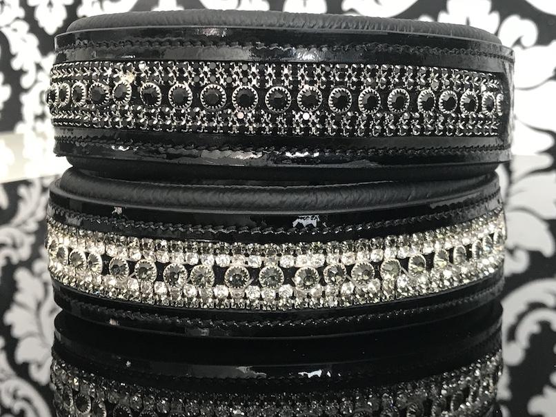 FATANO® Hundehalsband Leder 21-52 cm Hunde Halsband Strass 3,5 Lederhalsband C23