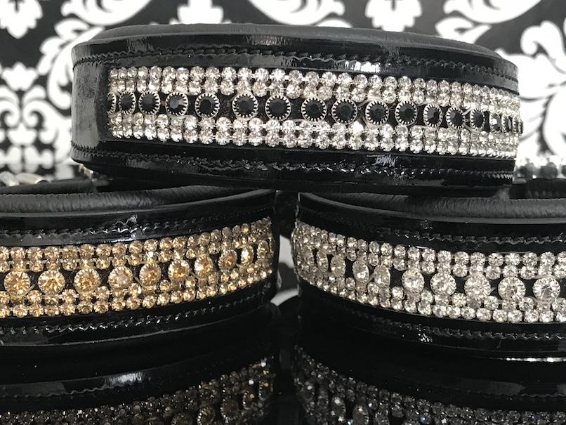 FATANO® Hundehalsband Leder 21-52 cm Hunde Halsband Strass 3,5 Lederhalsband C22