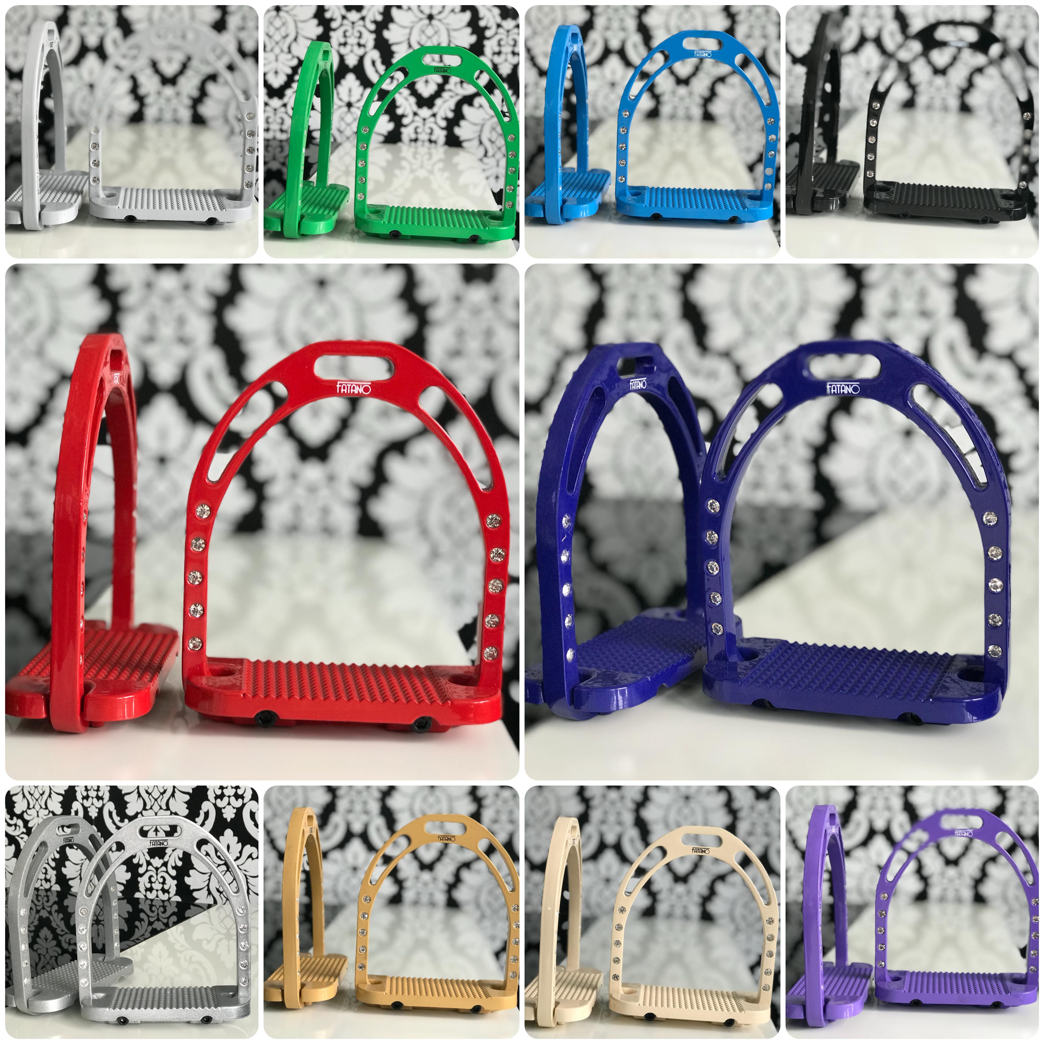 FATANO Aluminium Steigbügel TOP Farben breiter Trittfläche 12 cm Strass Steinen