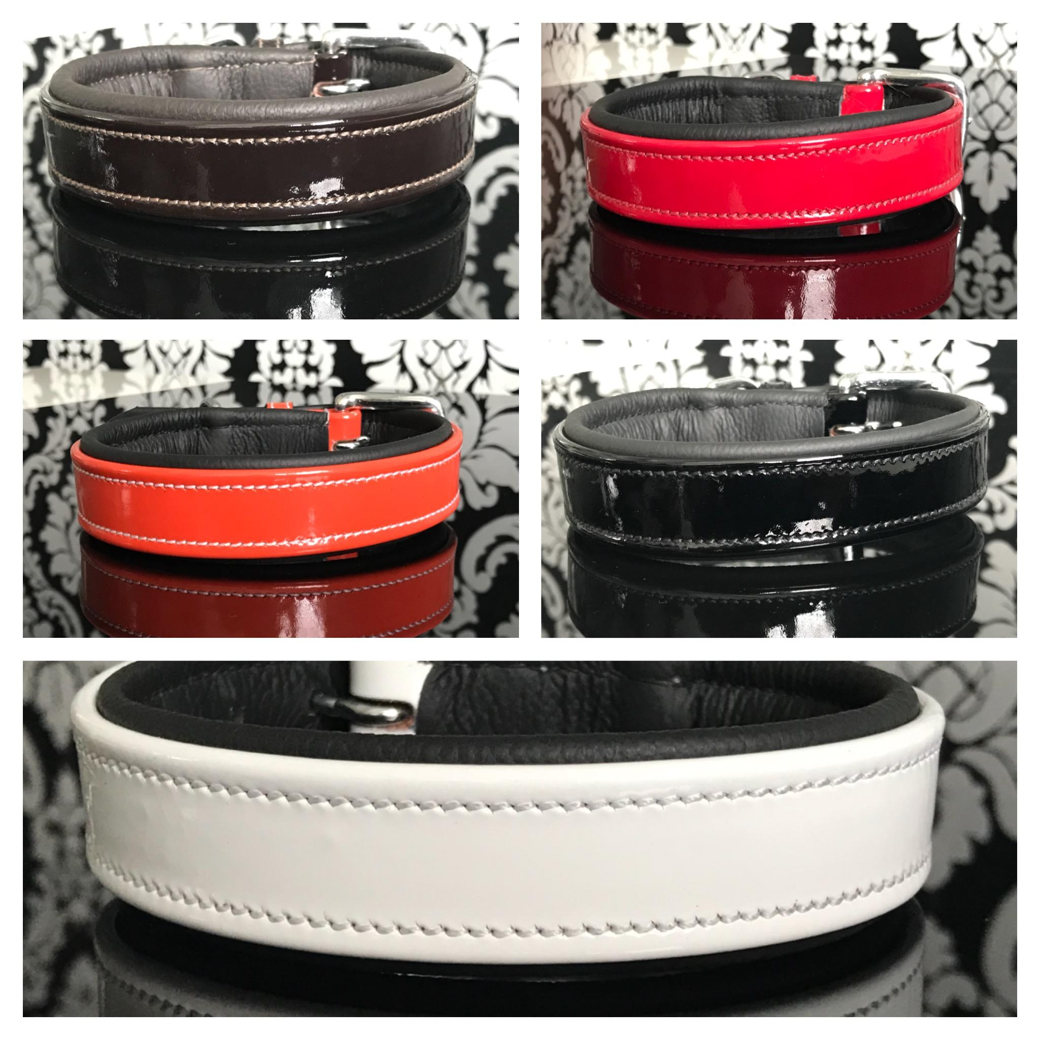 FATANO® Hundehalsband Leder 21-51 cm Hunde Halsband Lack Lederhalsband C26